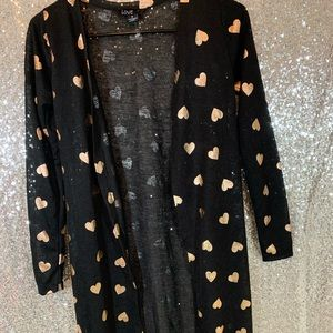 Love long cardigan black and gold sz small